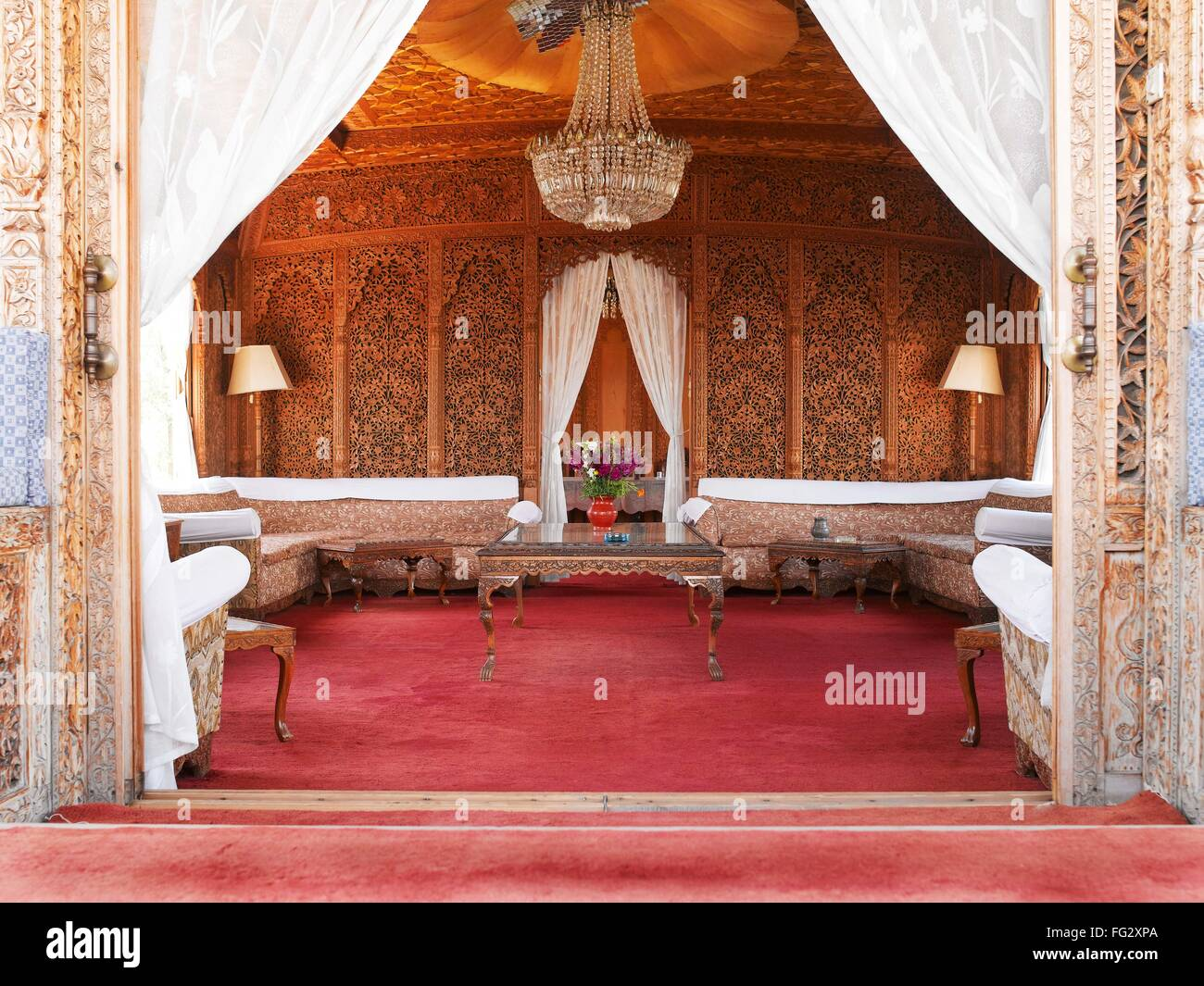 Interior house boat ; Srinagar ; Jammu and Kashmir ; India - Stock Image