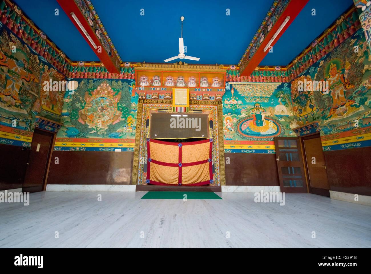 Wall paintings at entrance of Sakya monastery ; Defraud ; Uttaranchal Uttarakhand ; India - Stock Image
