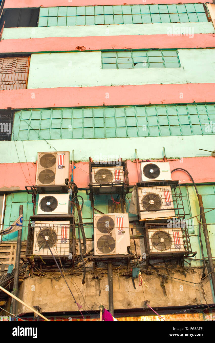Badly wired air conditions ; New Market ; Dhaka ; Bangladesh - Stock Image