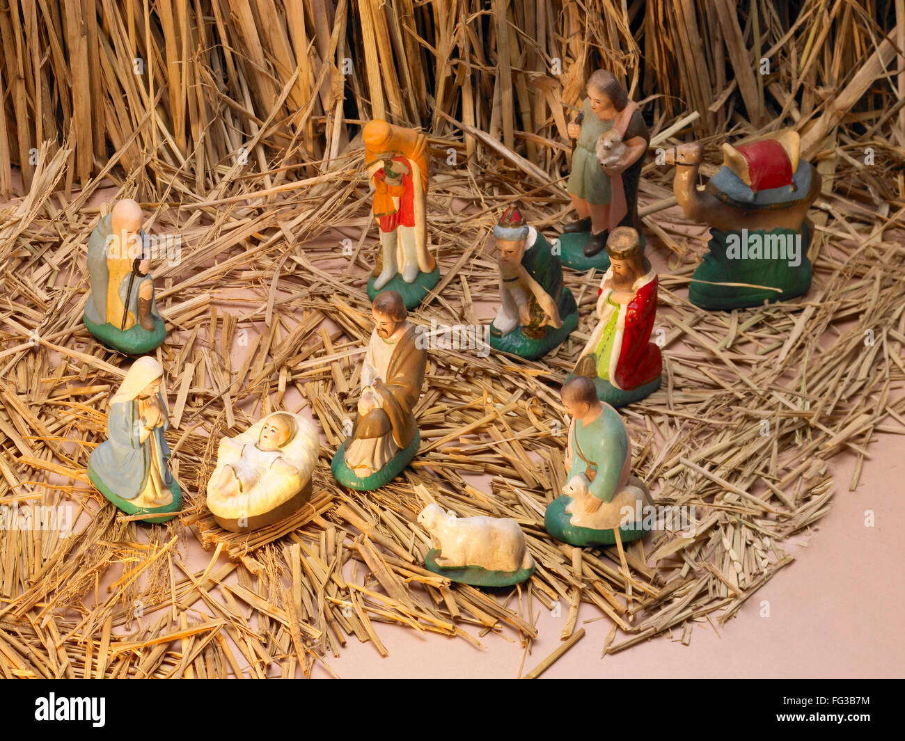 Birth of Jesus remembrance and re enactment of nativity scene - Stock Image