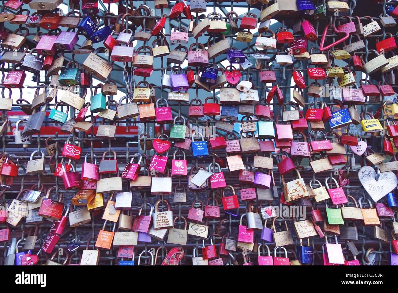 Love Locks On Hohenzollern Bridge - Stock Image