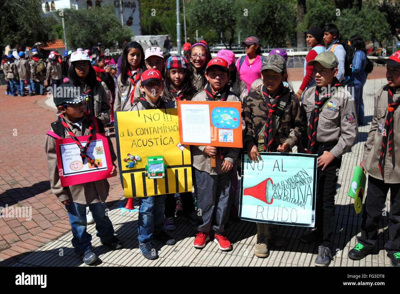 Schoolchildren protesting against noise pollution, La Paz, Bolivia - Stock Image