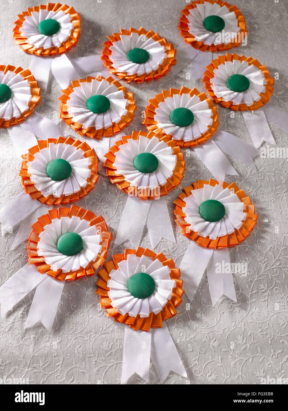 Indian National Flag Color Badge On White Embroidery Cloth Stock