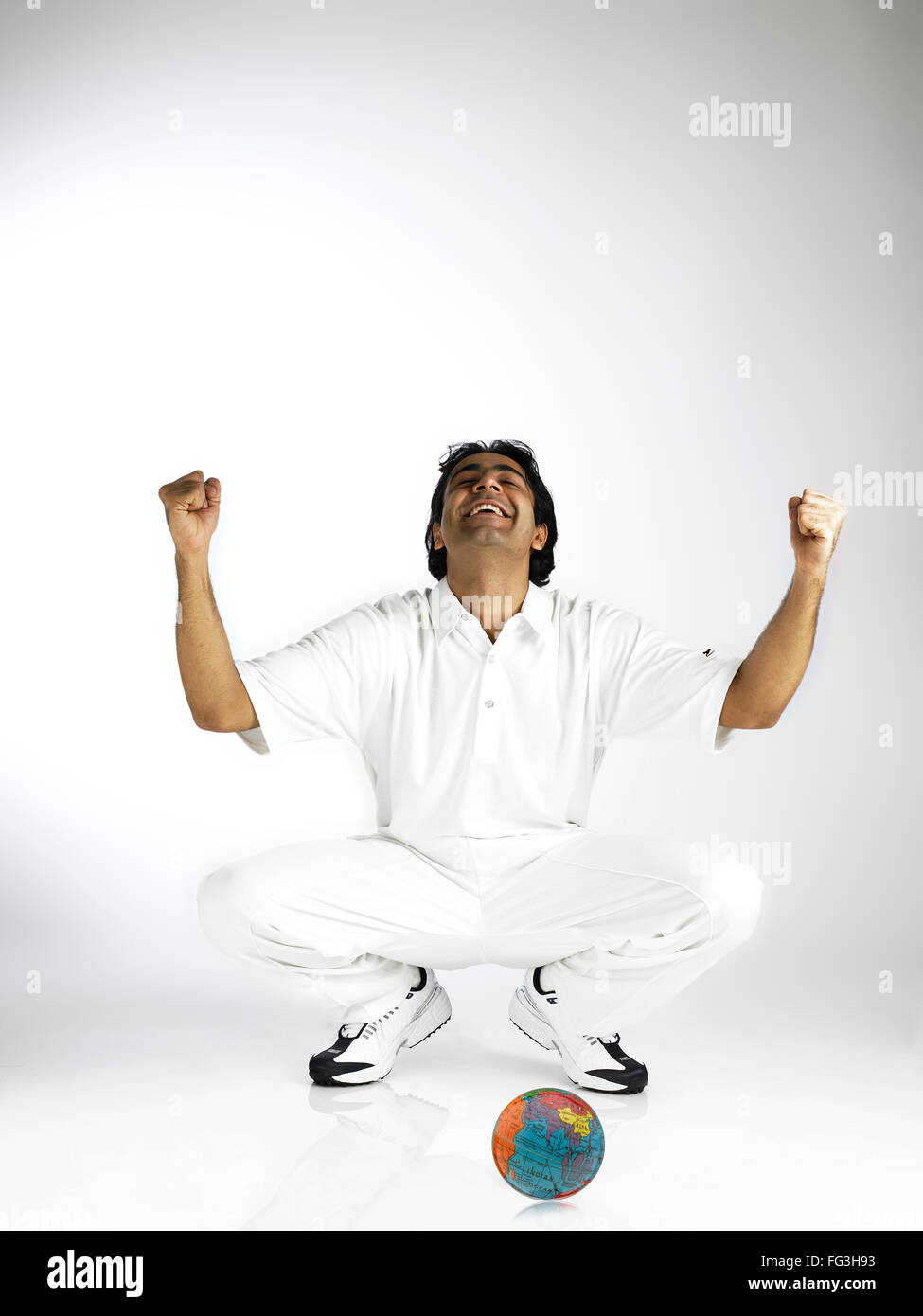 Indian bowler rejoicing captured world MR#702A - Stock Image