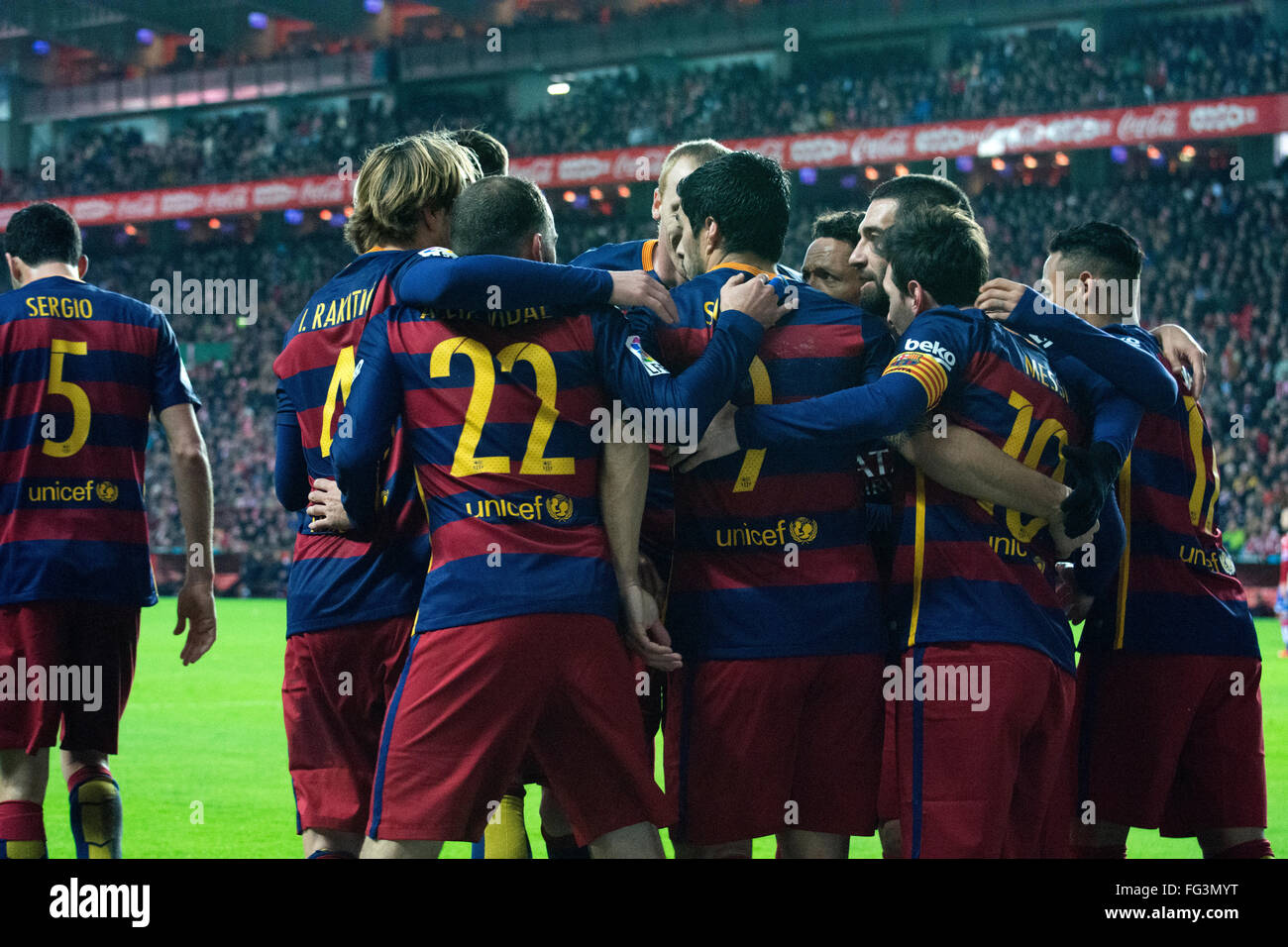 Gijon, Spain. 17th February, 2016. FC Barcelona's players celebrate their second goal during football match - Stock Image