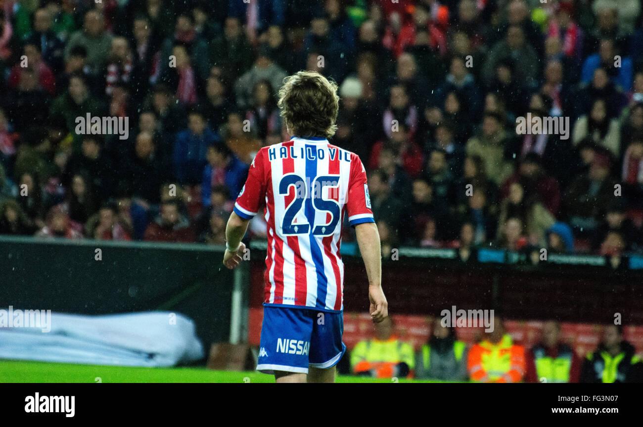Gijon, Spain. 17th February, 2016. Alen Halilovic (midfielder, Real Sporting de Gijon) during football match of - Stock Image
