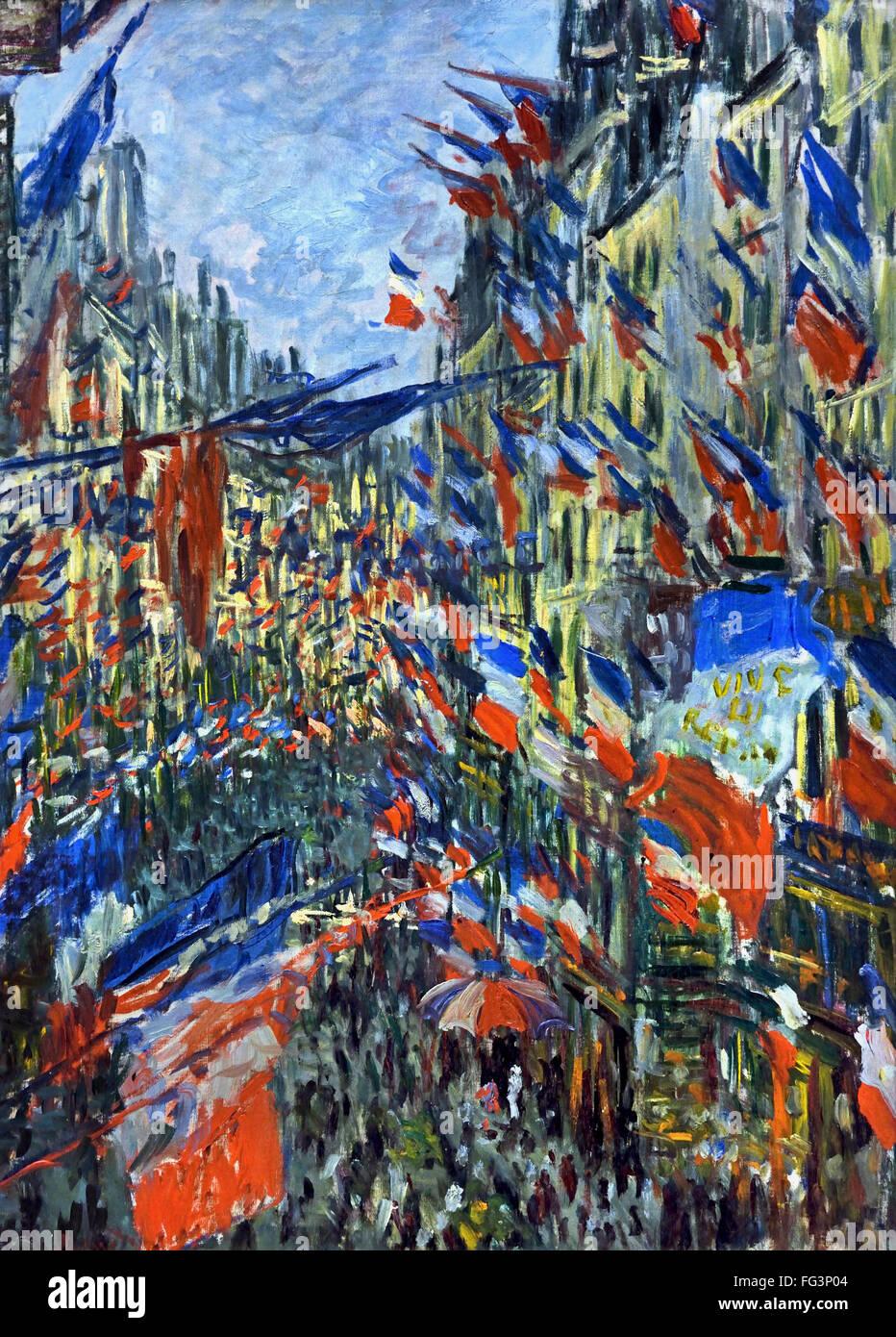 RUE SAINT DENIS, FÊTE DU 30 JUIN - CELEBRATION OF 30 JUNE 1878 CLAUDE MONET (1840 - 1926) France French - Stock Image