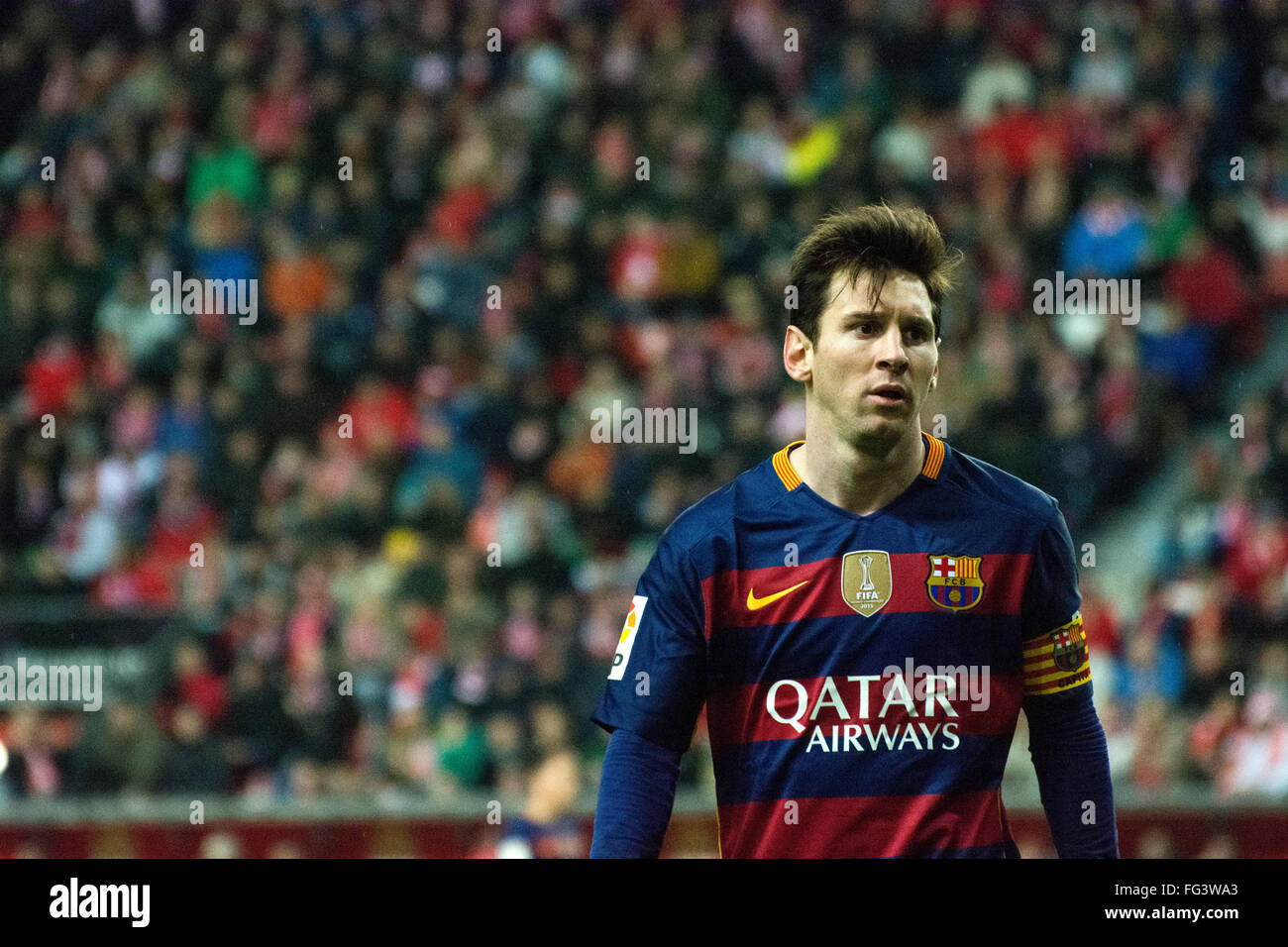 Gijon, Spain. 17th February, 2016. Lionel Messi (forward, FC Barcelona) during football match of Spanish 'La - Stock Image