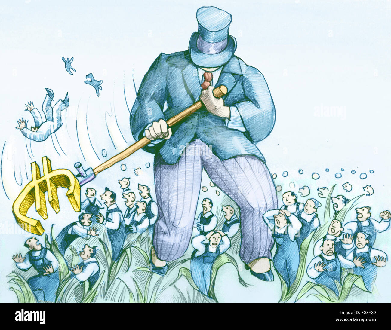 a wealthy businessman mows redundant workers with the symbol of the euro - Stock Image