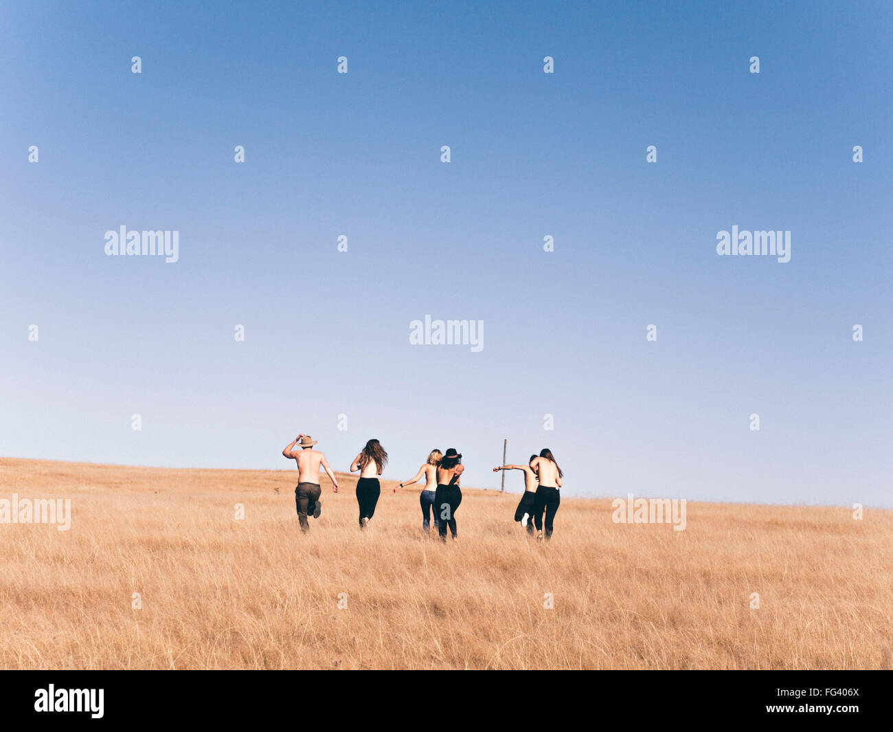 Rear View Of Men And Women Running On Field Against Clear Sky - Stock Image