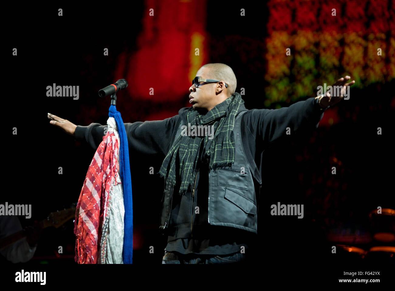 American artist Jay-Z , Jay Z headlining the Pyramid Stage at Glastonbury Festival 2008, Somerset, England, United Stock Photo