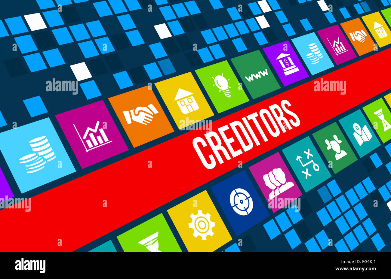 Creditors concept image with business icons and copyspace. - Stock Image