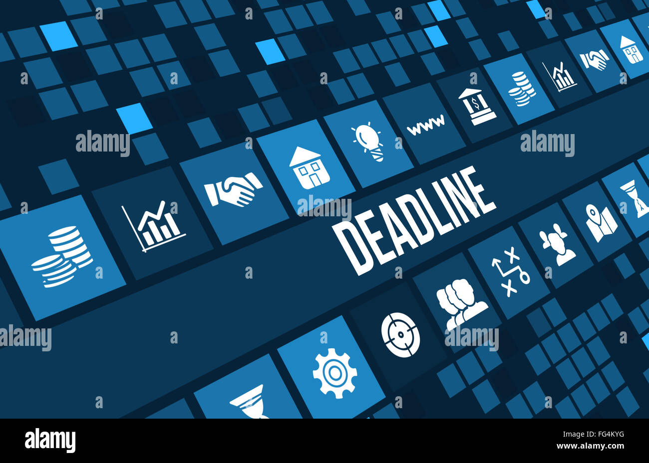 Dead line concept image with business icons and copyspace. - Stock Image