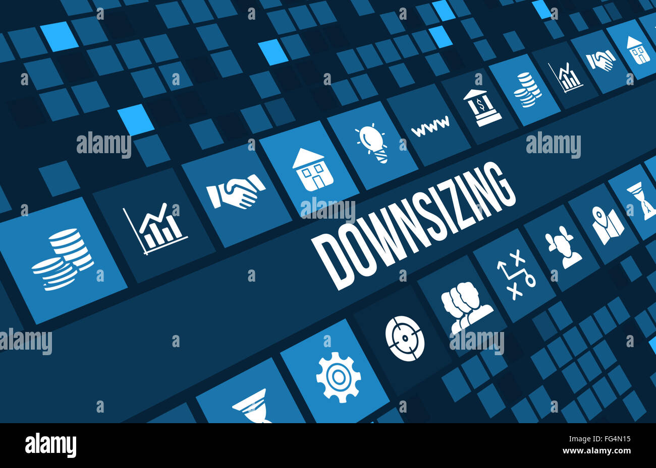 Downsizing concept image with business icons and copyspace. - Stock Image