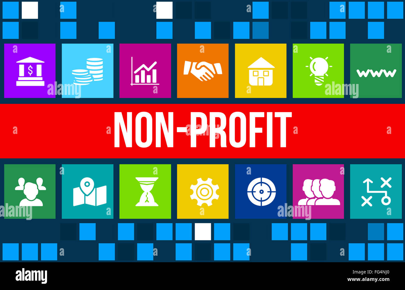 Nonprofit concept image with business icons and copyspace. - Stock Image
