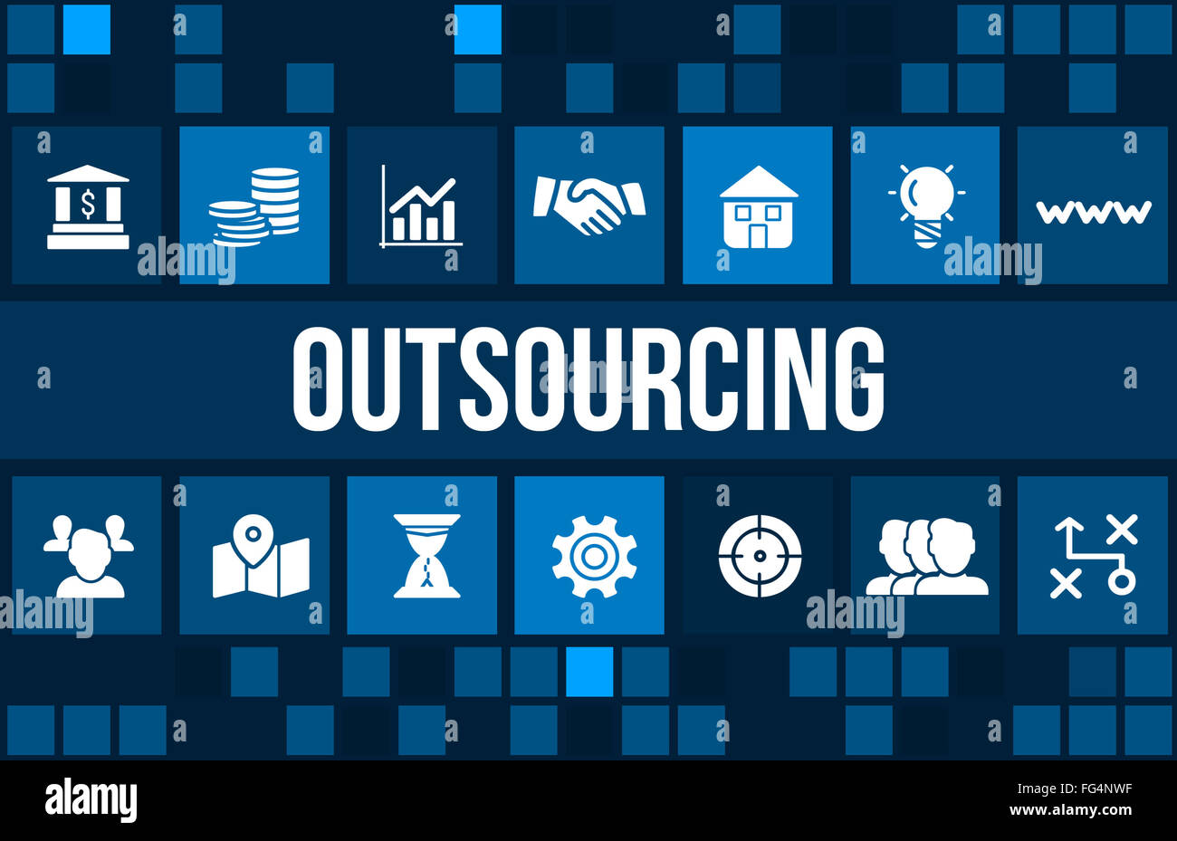Outsourcing concept image with business icons and copyspace. - Stock Image