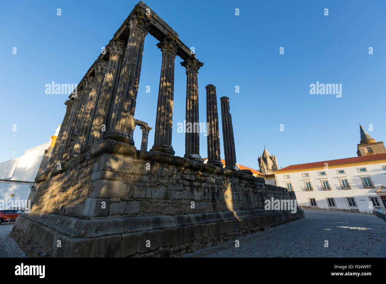 An oblique view of the remnants of the Roman Temple of Évora, also referred to as the Templo de Diana in Evora, - Stock Image