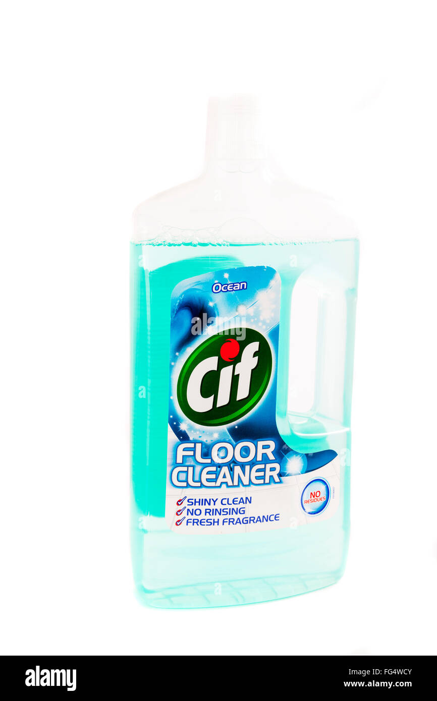 Cif floor cleaner detergent bottle for clean cleaning floors fresh Cut out cutout product brand isolated white background - Stock Image