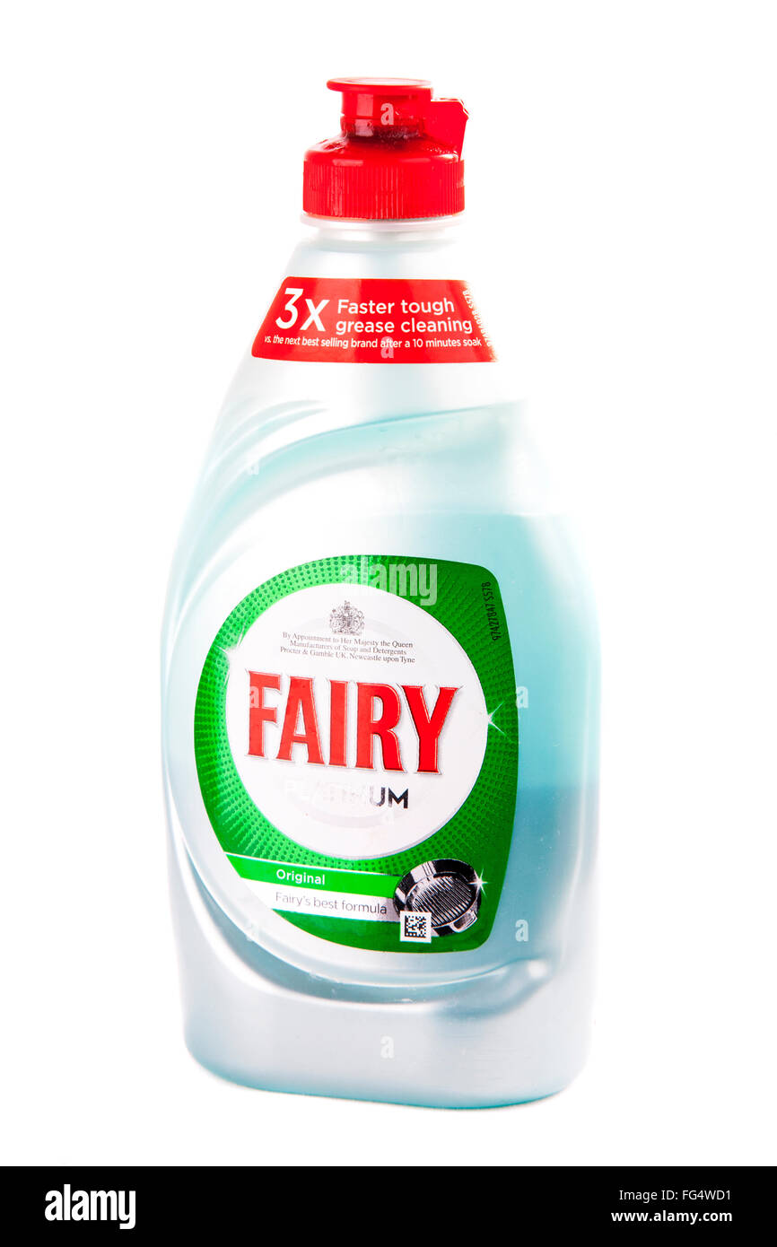 Fairy liquid detergent soap wash for dishes pots pans bottle bottled cutout cut out white background isolated - Stock Image