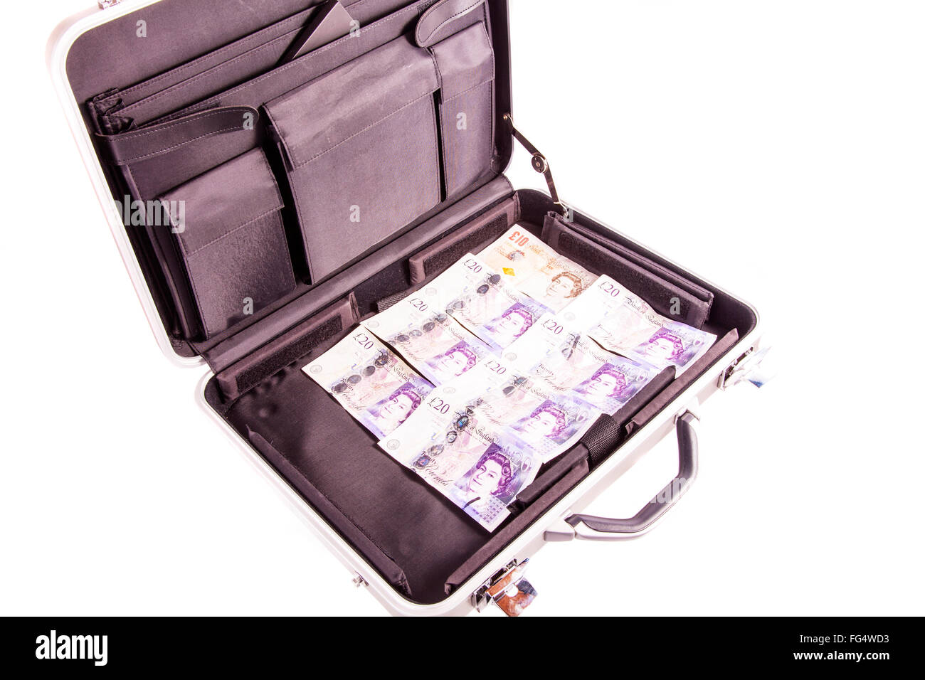 Case full of money cash for deal briefcase exchange dodgy deals ransom dealing cutout cut out white background isolated - Stock Image
