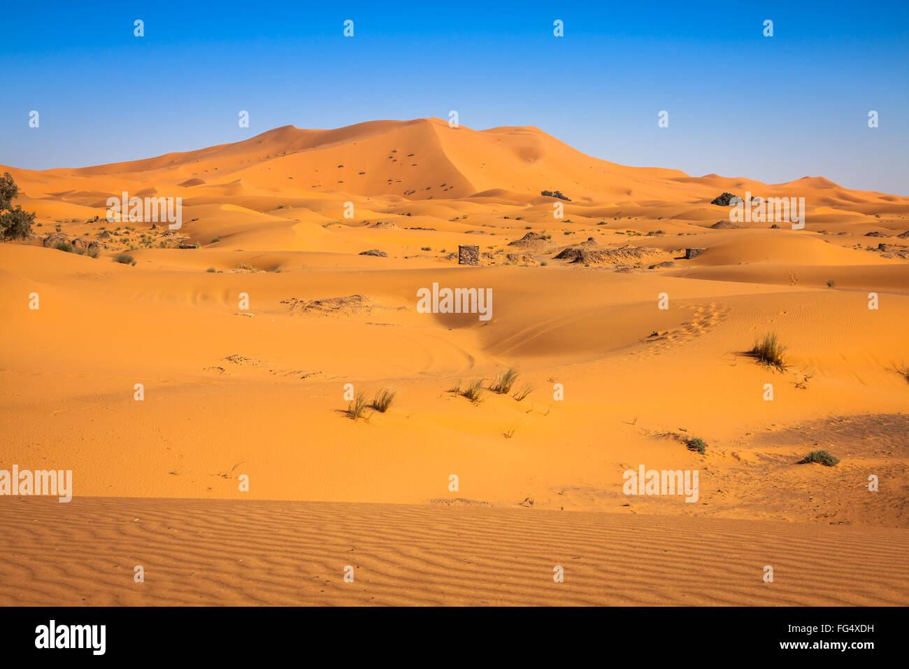 The seas of dunes of Erg Chebbi near Merzouga in southeastern Morocco. - Stock Image