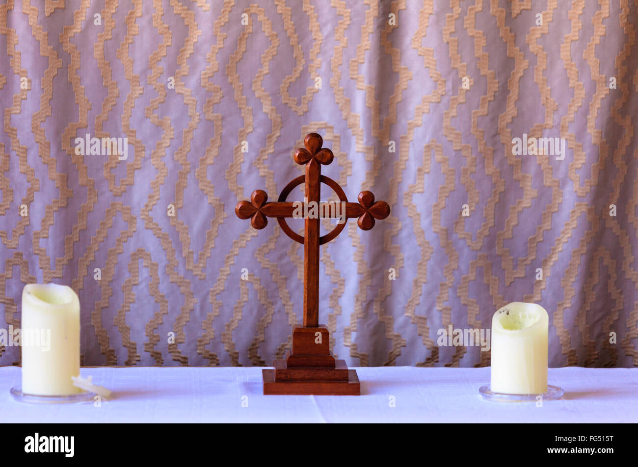 Christianity Symbol Old Vintage Wooden Cross In St Mary Parish