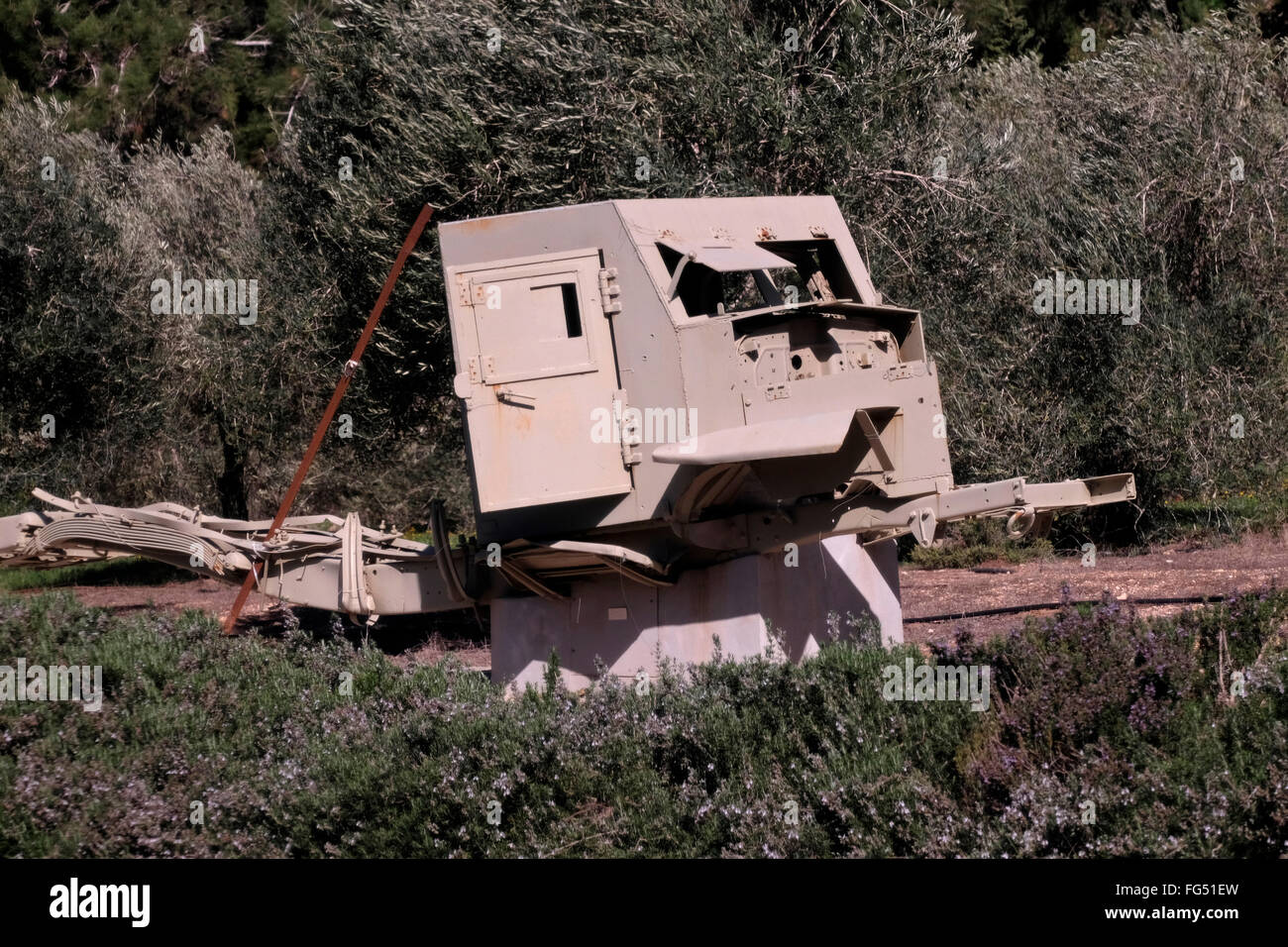Remains of armored vehicle from 1948 war at Shaar Hagai or Bab El Wad on the main road from Tel Aviv to Jerusalem - Stock Image