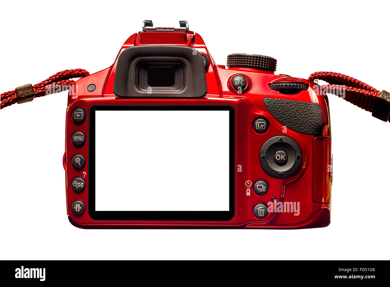 Red Camera Back With Blank Monitor and Straps - Stock Image