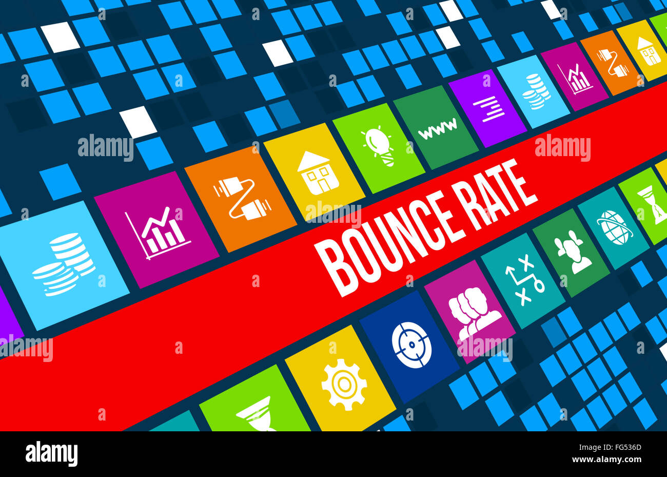 Bounce Rate concept image with business icons and copyspace. - Stock Image
