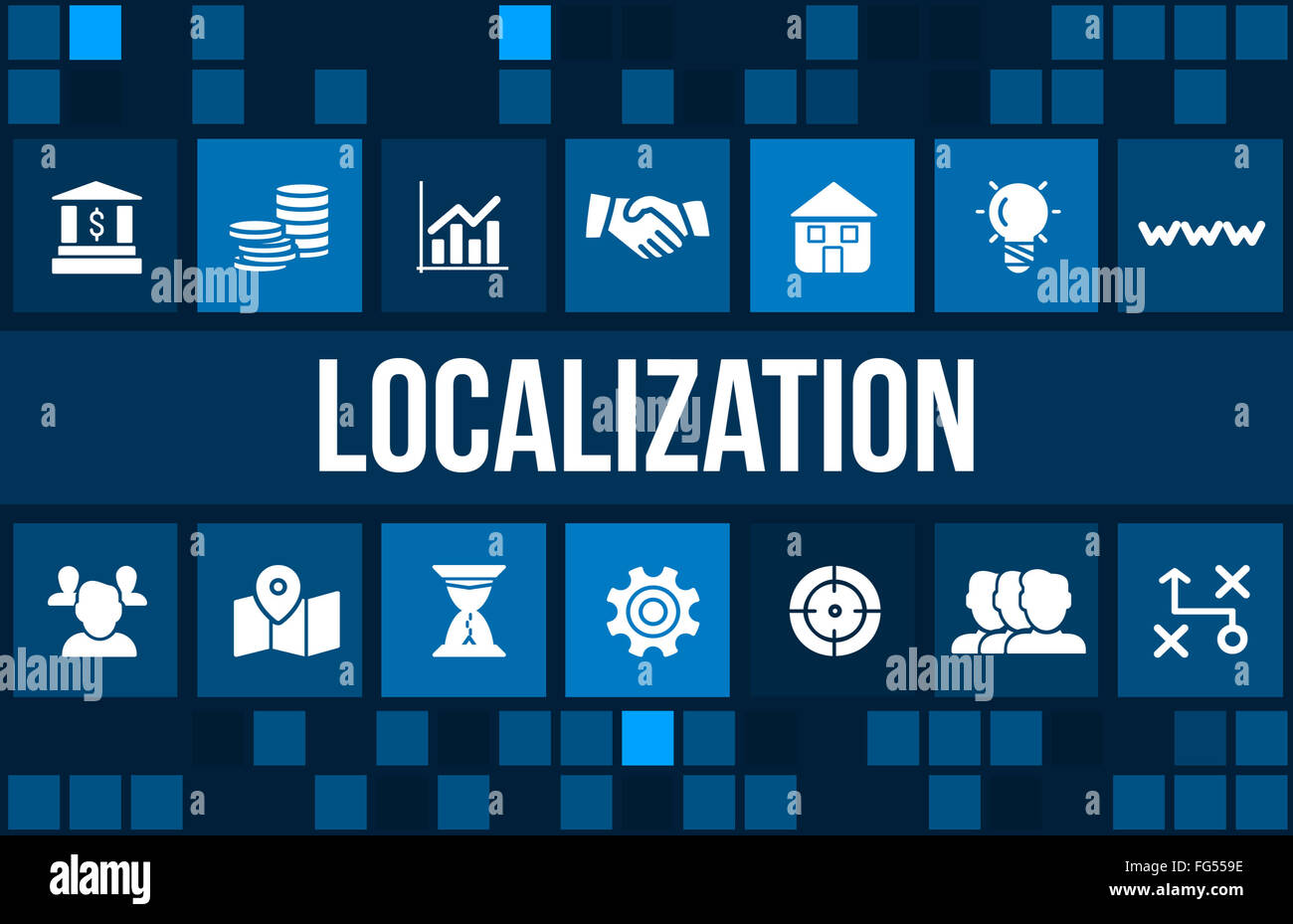 Localization concept image with business icons and copyspace - Stock Image
