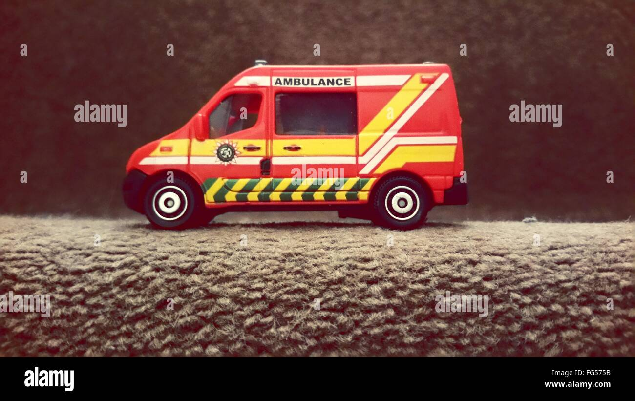 Ambulance Toy On Staircase - Stock Image