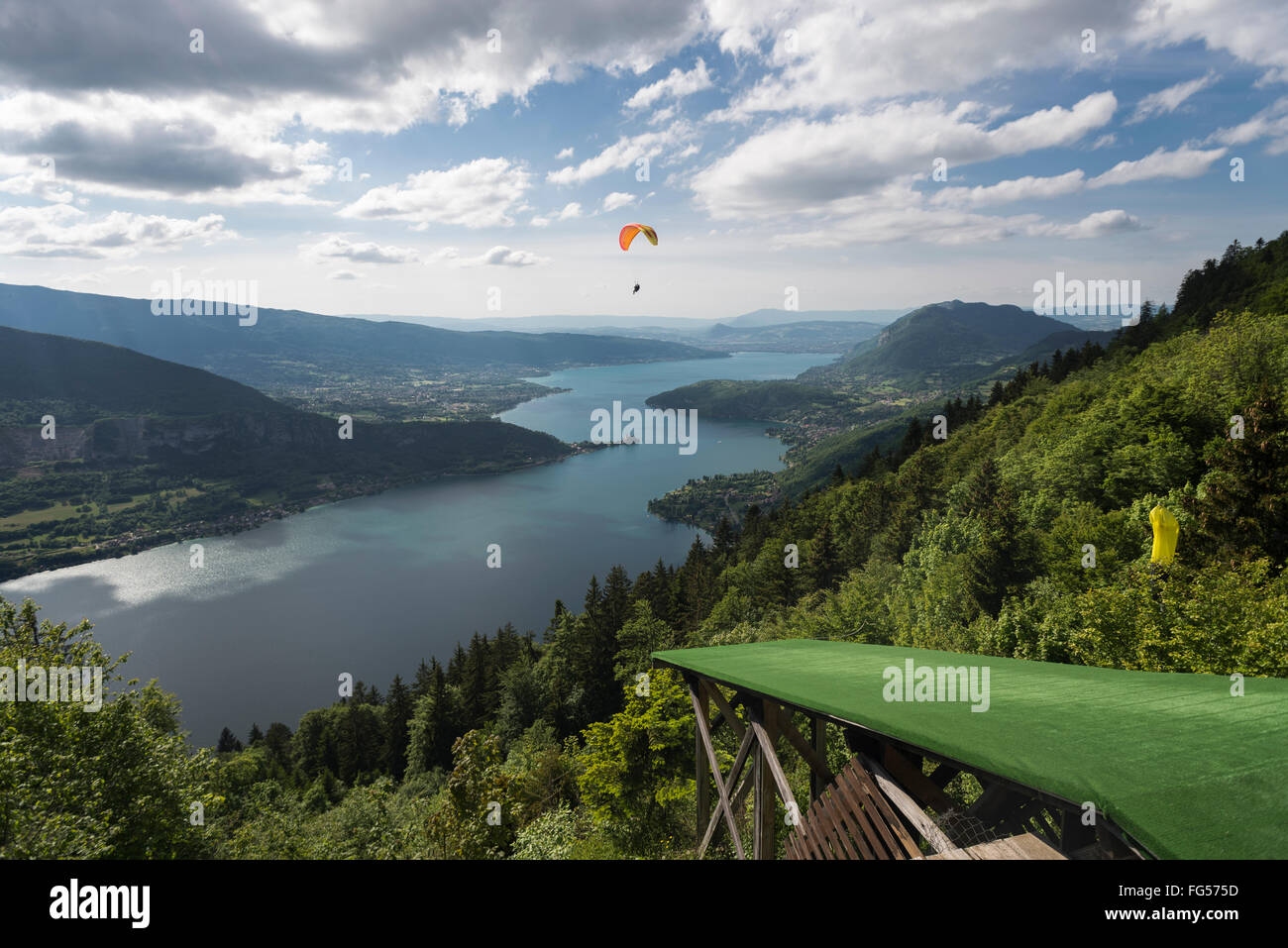 View from the paraglider launch pad at the Col de la Forclaz on Lake Annecy and surrounding mountains, Savoy,France - Stock Image