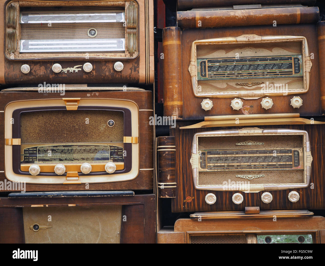 Full Frame Shot Of Retro Styled Radios - Stock Image