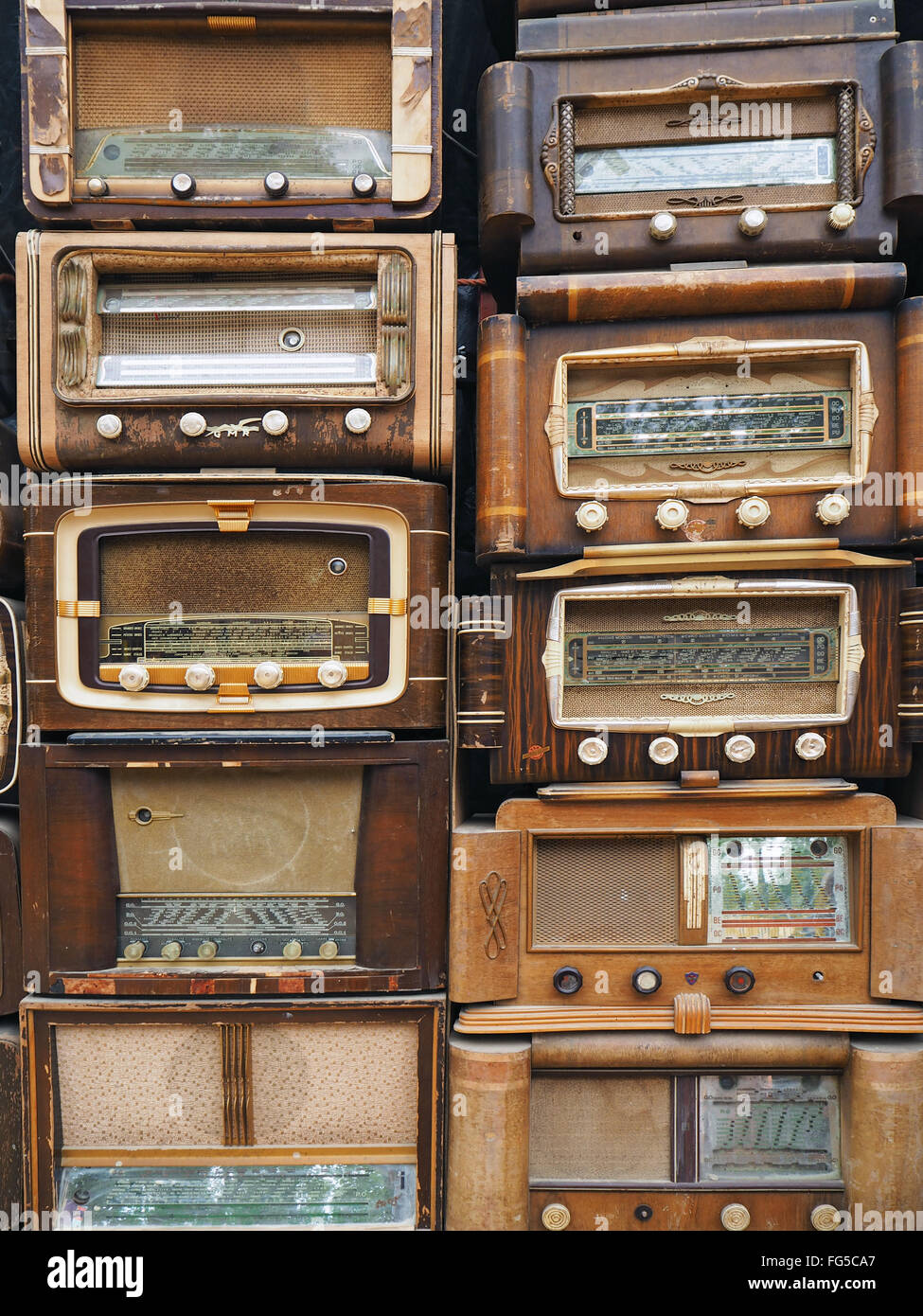 Retro Styled Radios In Store - Stock Image