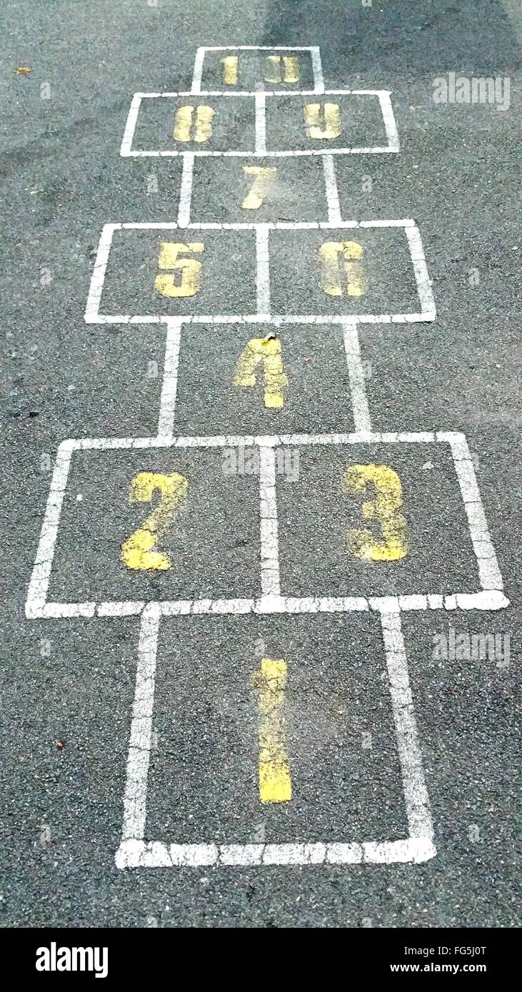 High Angle View Of Hopscotch Numbers On Street - Stock Image