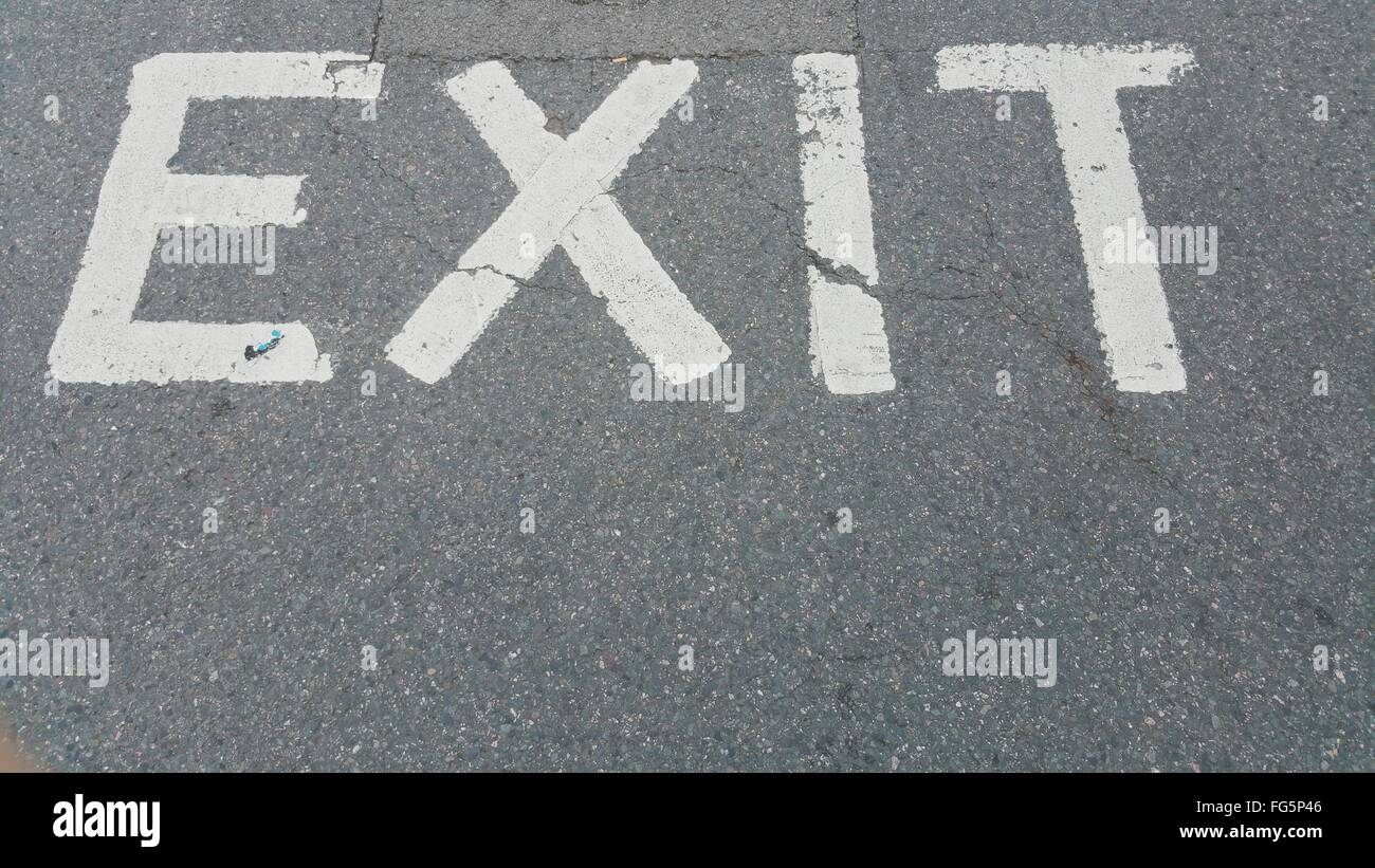 High Angle View Of Exit Sign On Road - Stock Image