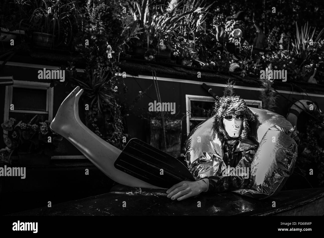 Mannequin In Back Yard - Stock Image