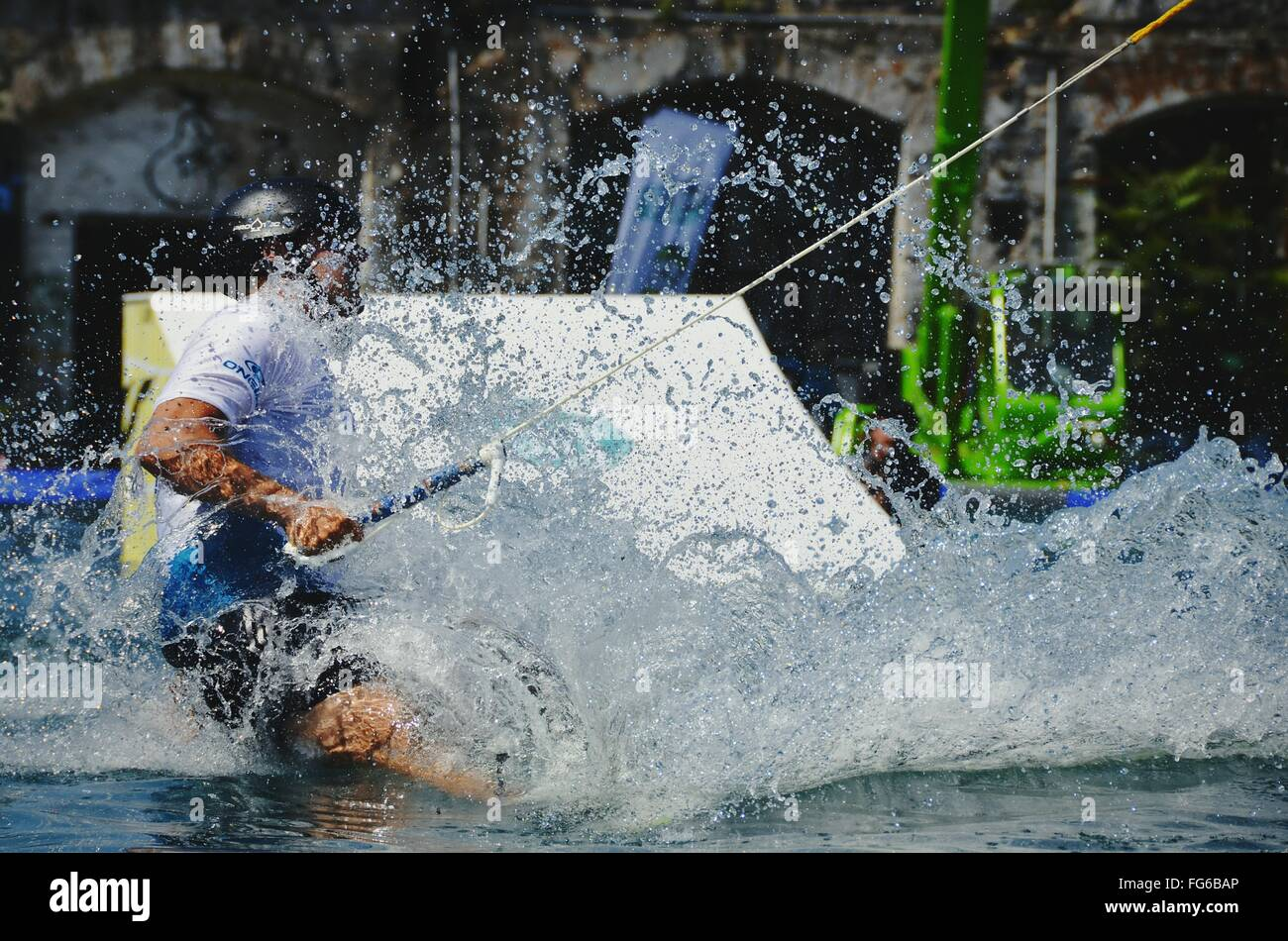 Close-Up Of Man Wakeboarding In River - Stock Image