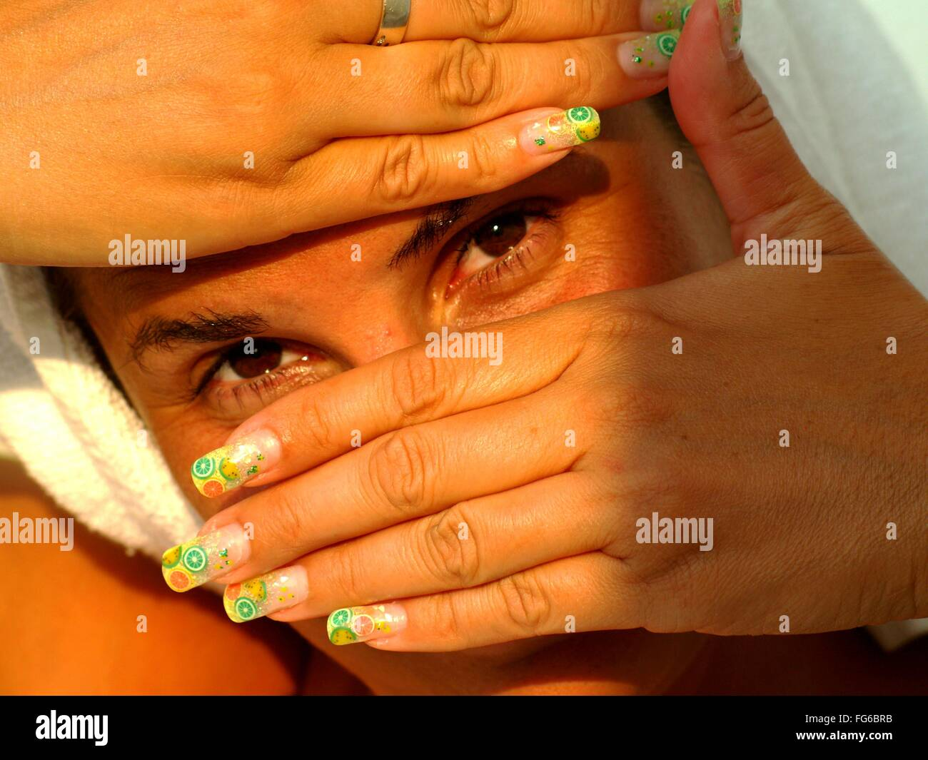 Portrait Of Mid Adult Woman With Nail Art Stock Photo 96027327 Alamy