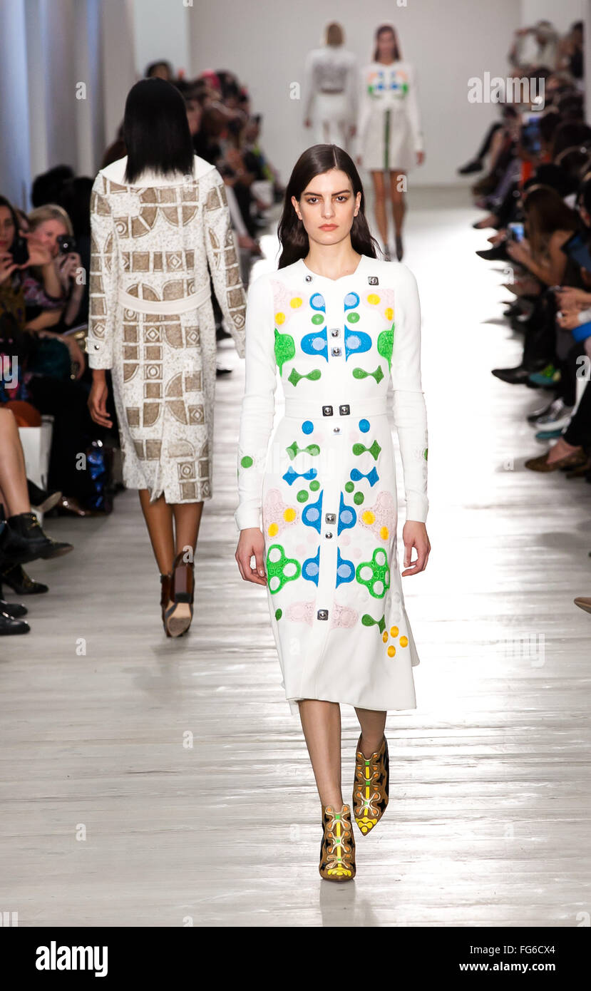 Model walking down the catwalk showcasing Peter Pilotto's collection at London Fashion Weekend 2015 Stock Photo