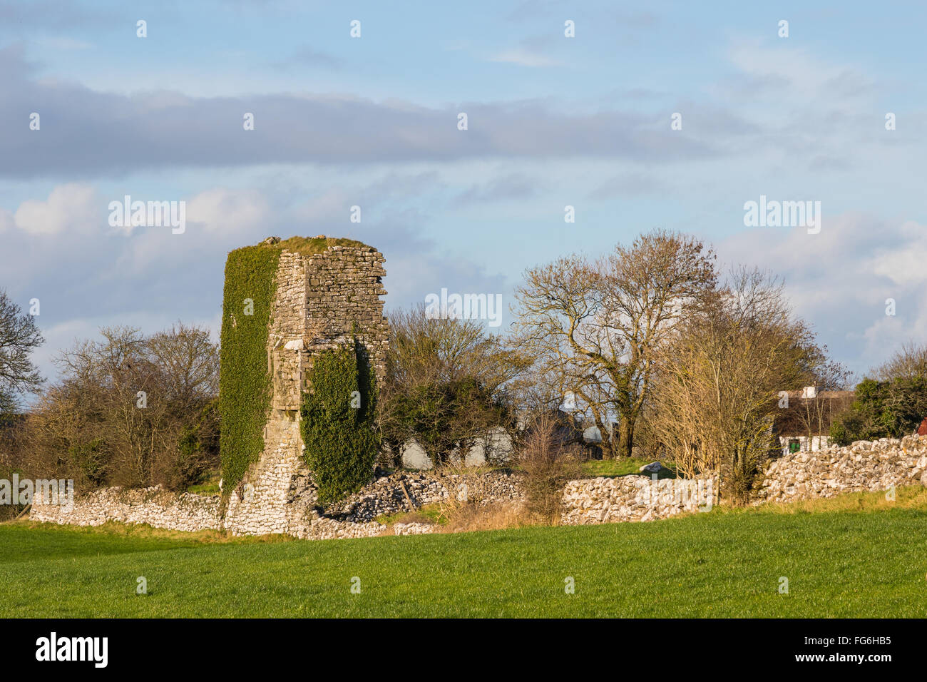 The ruins of Cloughanover Castle are about 2 miles from the village of Headford near the Galway/Mayo border in Ireland. - Stock Image