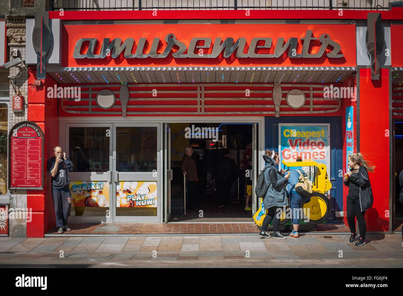 Amusements arcade seaside tourists, Weston-Super-Mare, England - Stock Image
