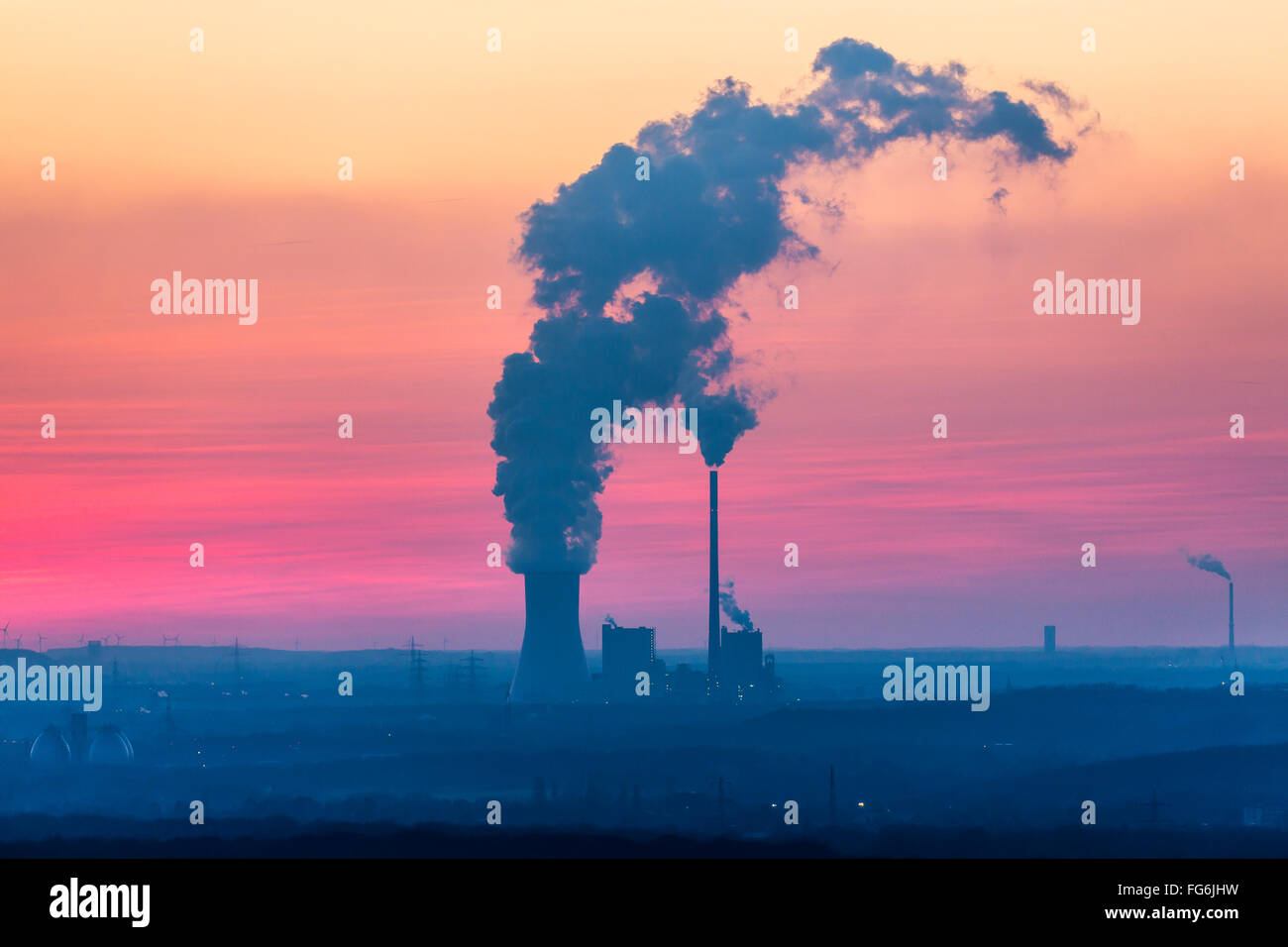 Walsum coal power plant, operated by STEAG, block 9 and 10, in Duisburg, Germany, sunset, - Stock Image