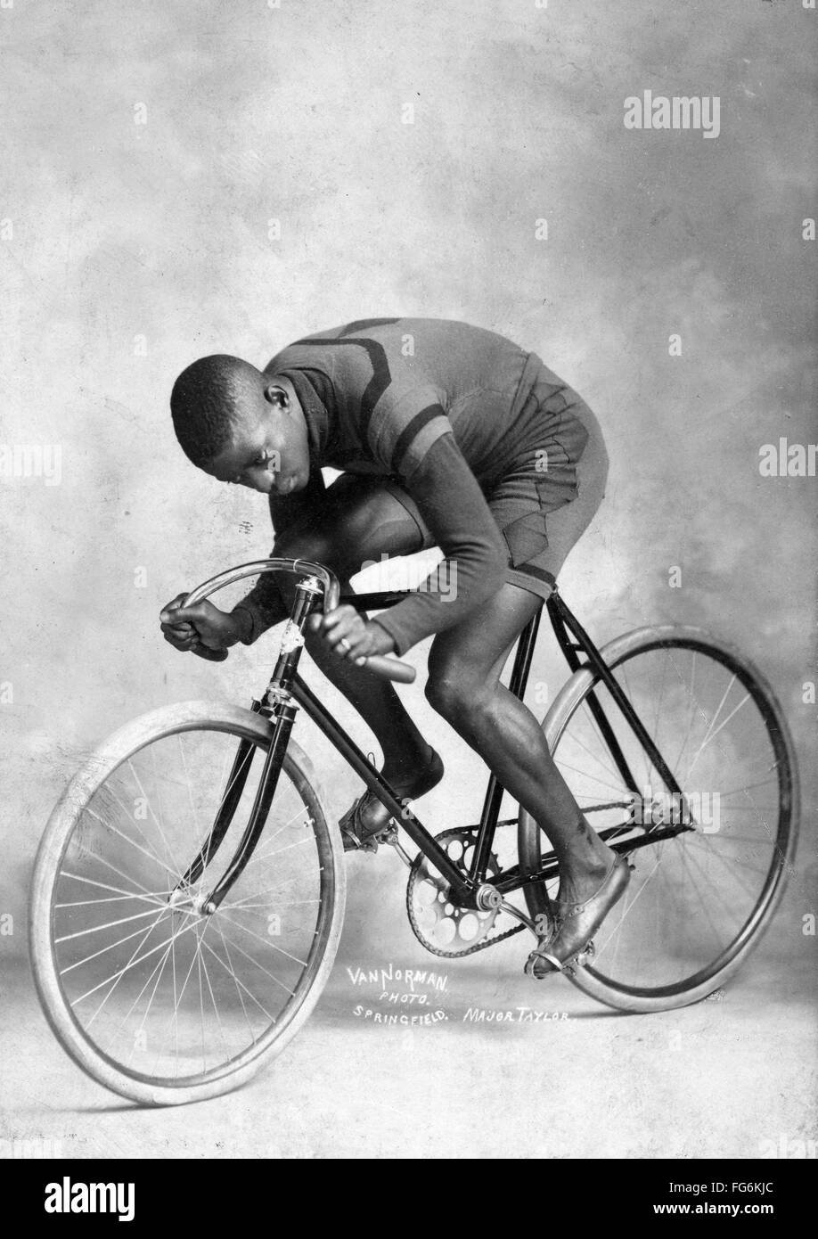 Marshall Walter 'Major' Taylor an American cyclist who won the world 1 mile (1.6 km) track cycling championship - Stock Image