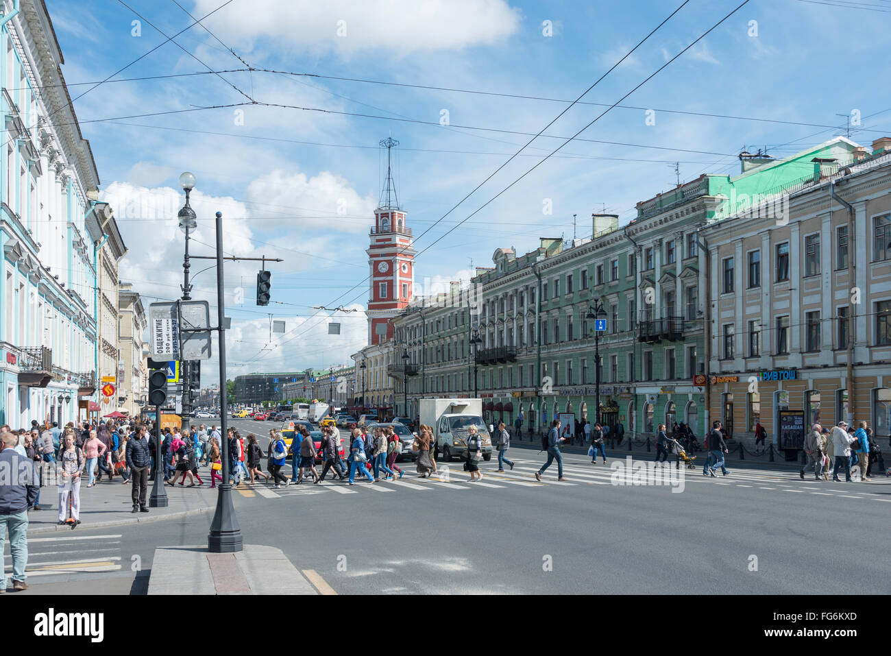 Nevsky Prospect, Saint Petersburg, Northwestern Region, Russian Federation - Stock Image