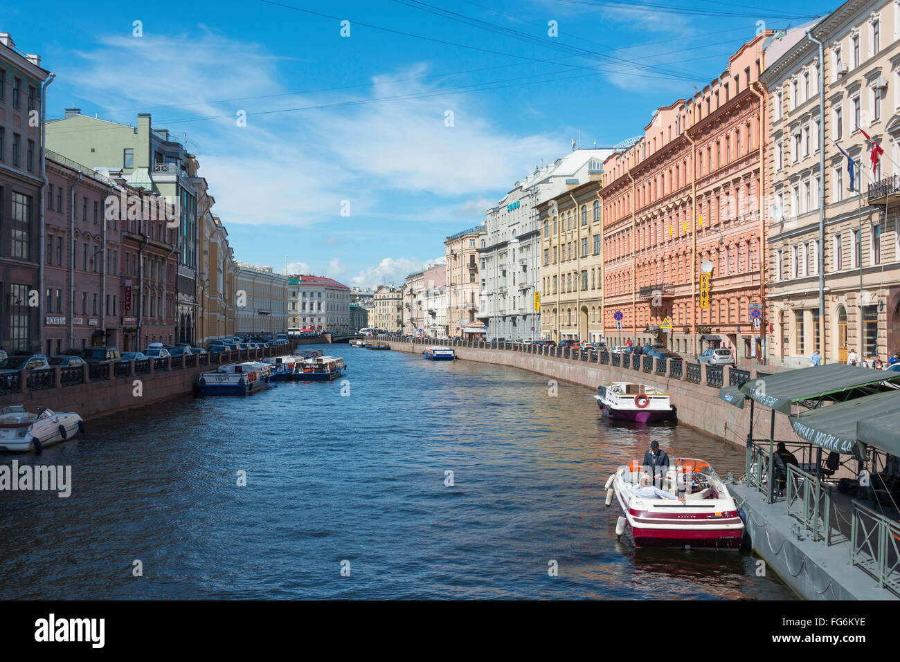 The Moyka River, Saint Petersburg, Northwestern Region, Russian Federation - Stock Image
