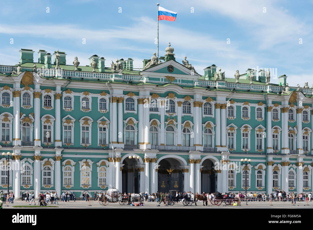 18th Century State Hermitage Museum, Palace Square, Saint Petersburg, Northwestern Region, Russian Federation - Stock Image
