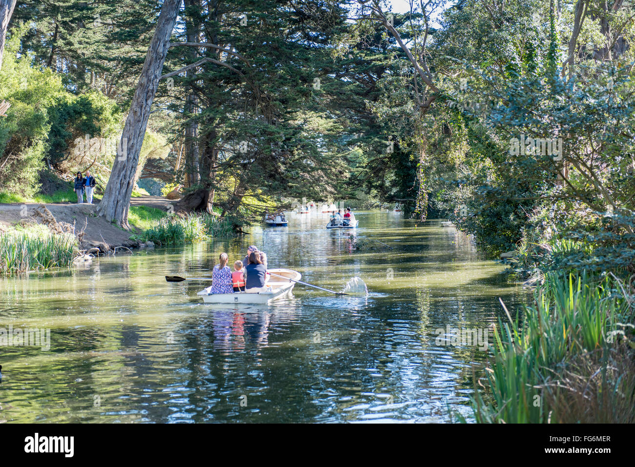 Boating on Stow Lake in Golden Gate Park, San Francsico, California, USA - Stock Image