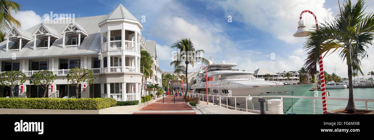 Key West promenade and harbor , Florida, USA - Stock Image
