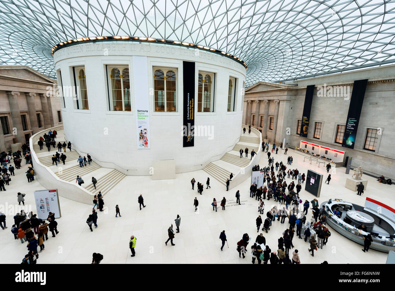 The Great Court in the British Museum, Bloomsbury, London, England, UK - Stock Image